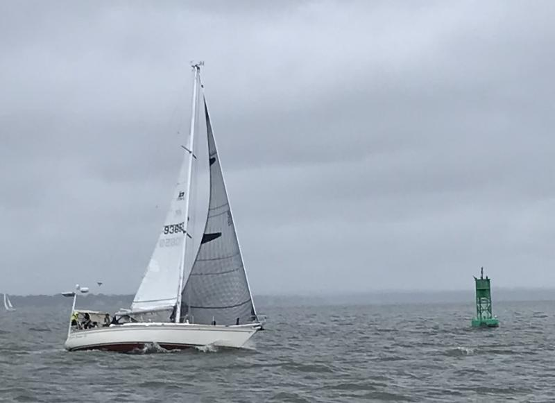 At the finish of the new Cove Point Classic Regatta